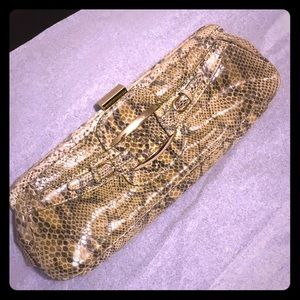 Green Snake Skin BCBG Clutch Purse NWOT